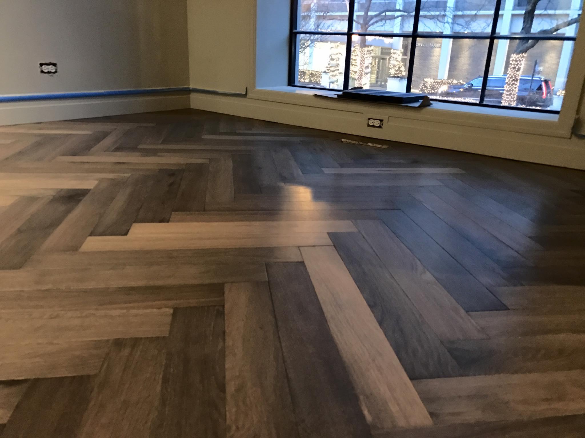 Herringbone french oak hardwood floor installation in for Flooring chicago