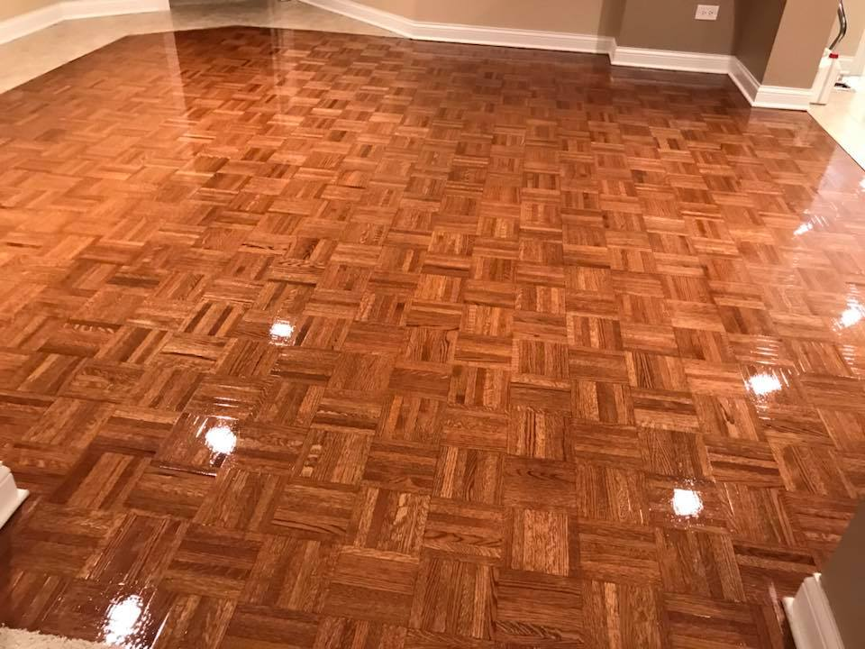Refinishing Red Oak Parquet Traditional Five Fingerblock